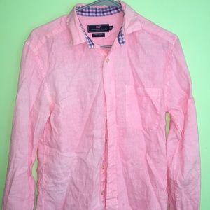 100% Linen pink long sleeve